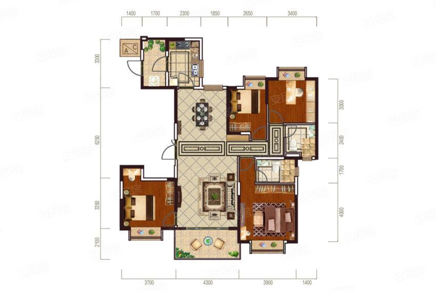 恒大华府151㎡户型-4室2厅户型图