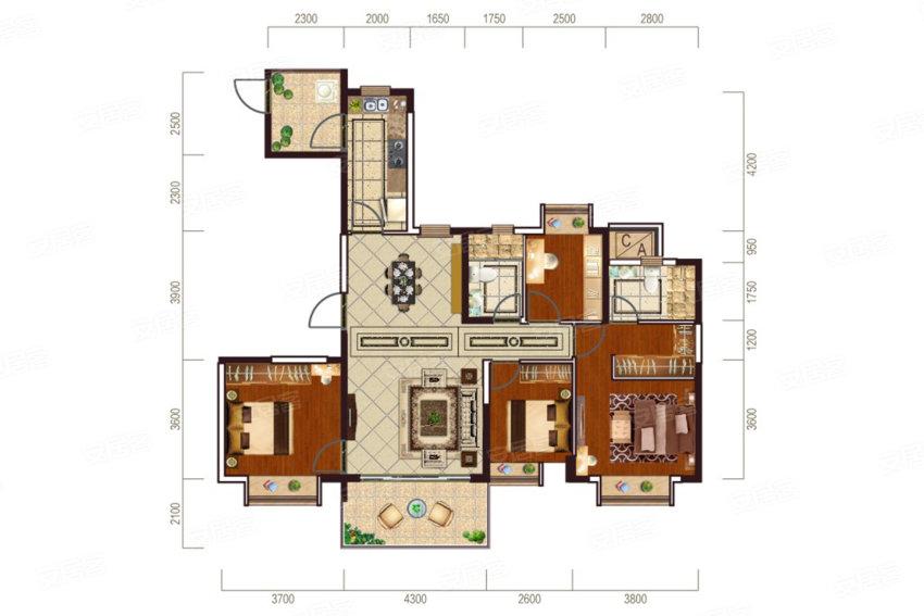 恒大华府138㎡户型-4室2厅户型图