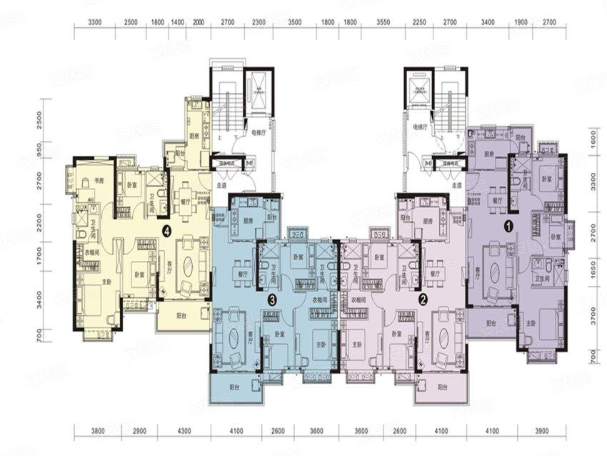 恒大名都28#户型-3室2厅户型图