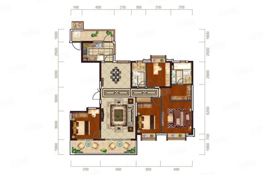 恒大华府176㎡户型-4室2厅户型图