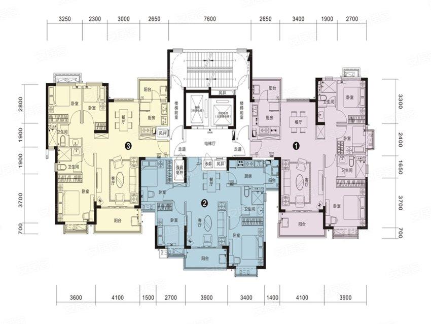 恒大名都25#1单元户型-3室2厅户型图
