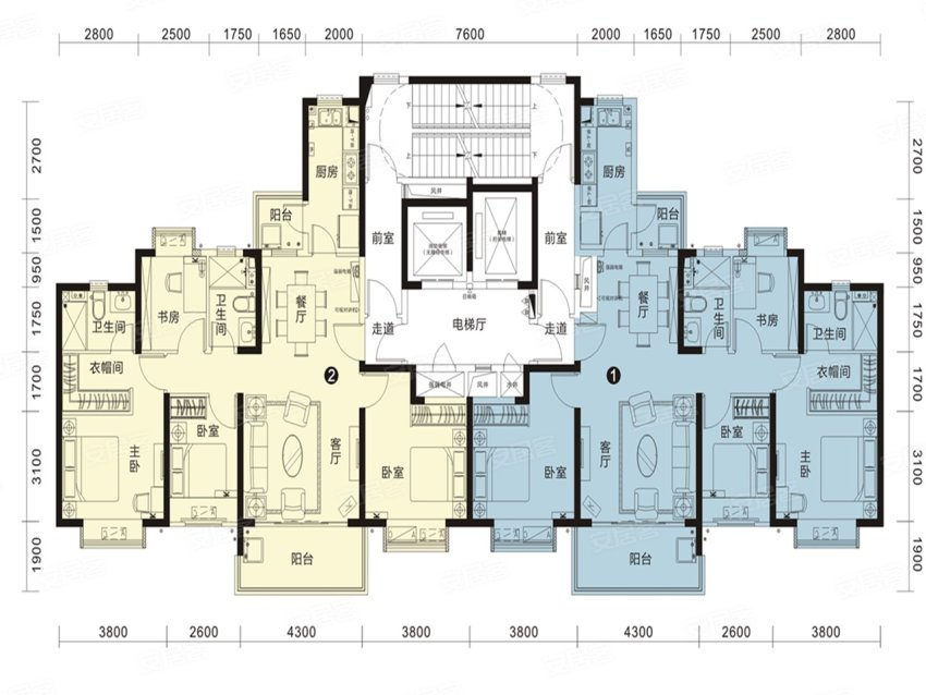 恒大名都27#2单元户型-4室2厅户型图