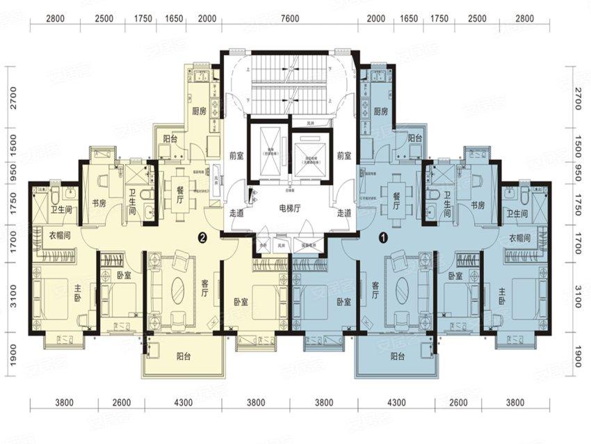 恒大名都27#1单元-4室2厅户型图