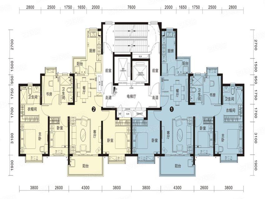 恒大名都26#1单元-4室2厅户型图