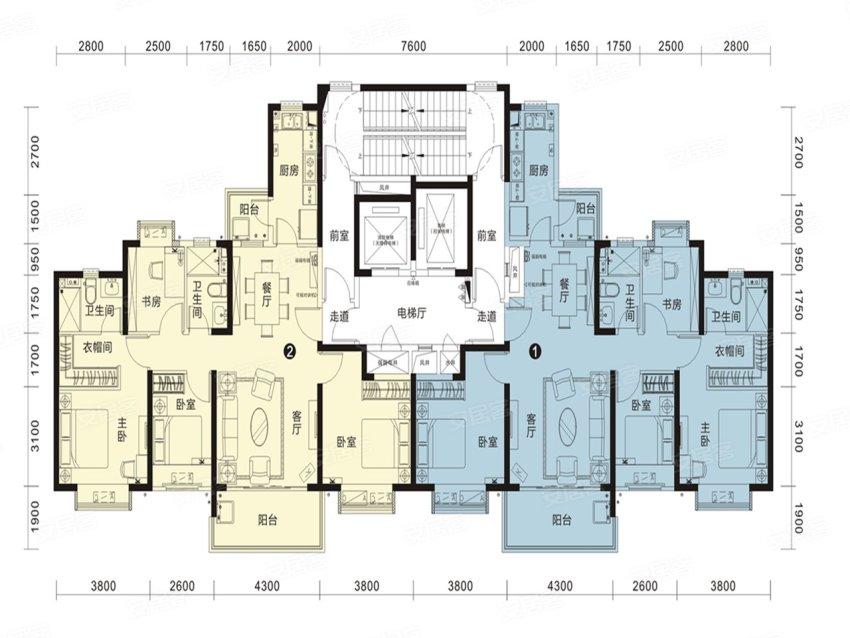 恒大名都26#2单元户型-4室2厅户型图