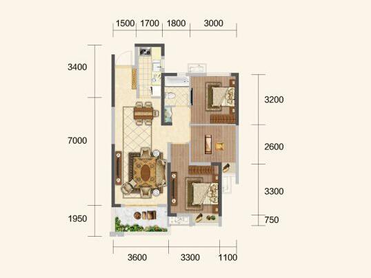 中建·荆州之星A户型-3室1厅户型图