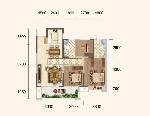 中建·荆州之星B户型-3室2厅户型图