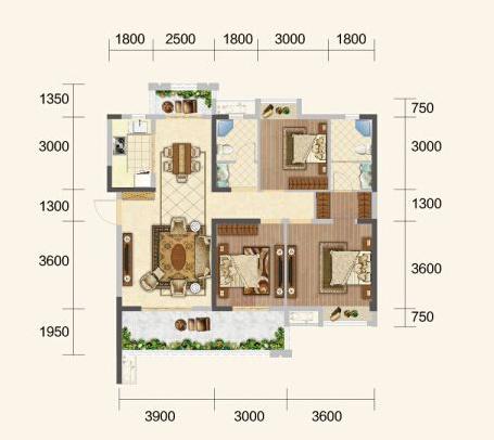 中建·荆州之星E户型-3室2厅户型图