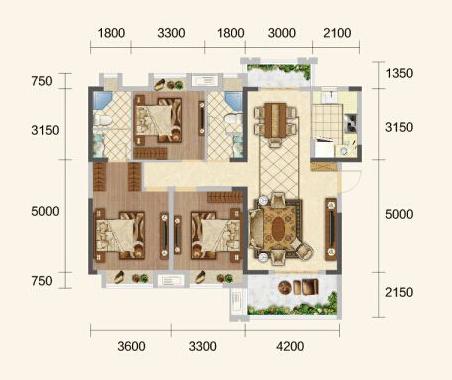 中建·荆州之星F户型-3室2厅户型图