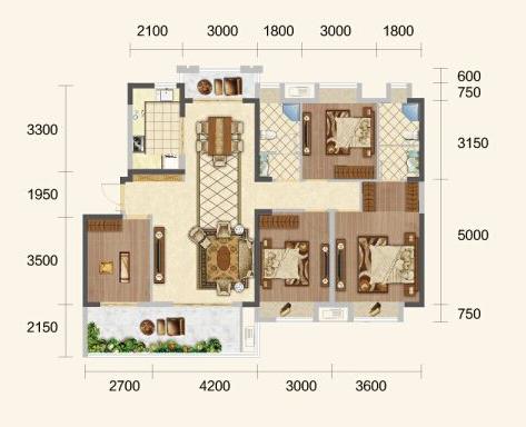 中建·荆州之星G户型-4室2厅户型图