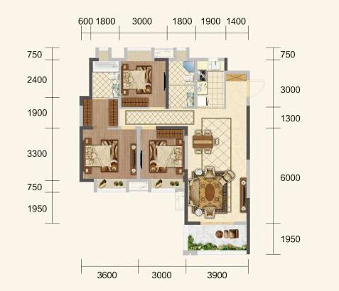 中建·荆州之星D户型-3室2厅户型图
