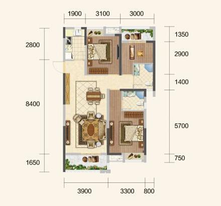 中建·荆州之星C户型-3室3厅户型图