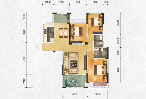 公园大观G1户型-3室2厅户型图