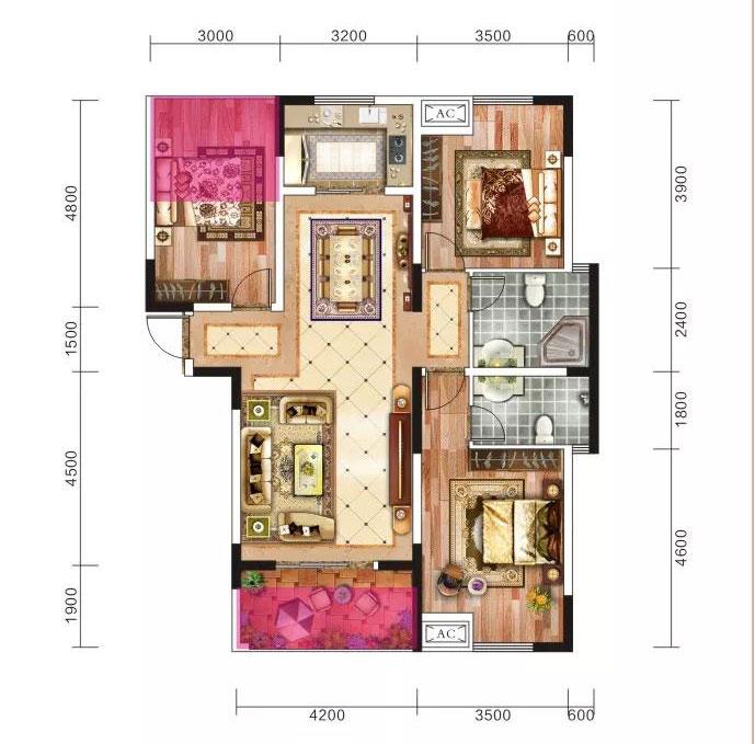 当阳恒丰花园119.1m²-3室2厅户型图