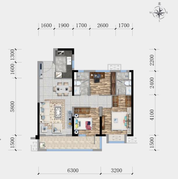 金辉·楚樾云著B1户型-2室2厅户型图