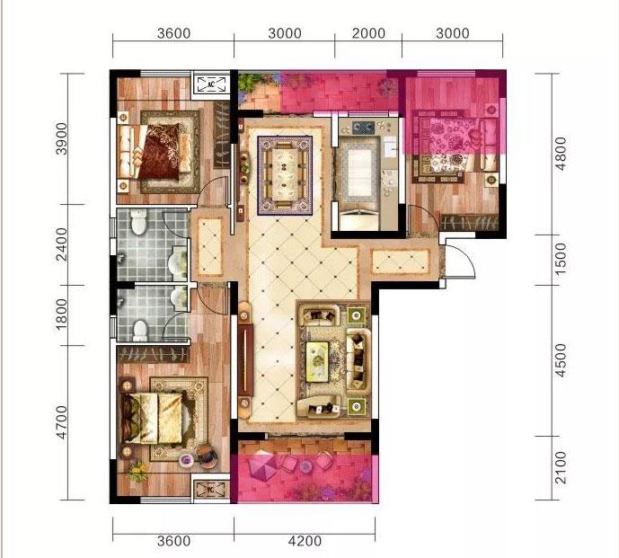当阳恒丰花园124.8m²-3室2厅户型图