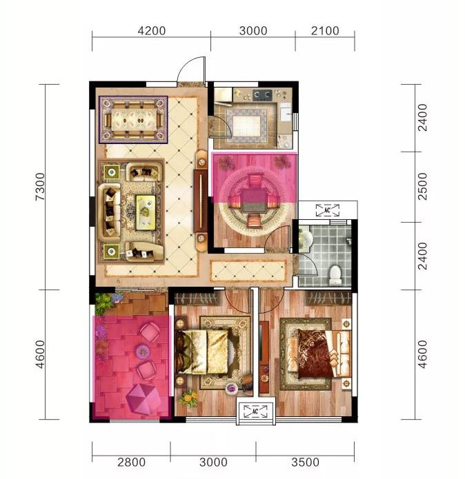 当阳恒丰花园104.05m²-3室2厅户型图