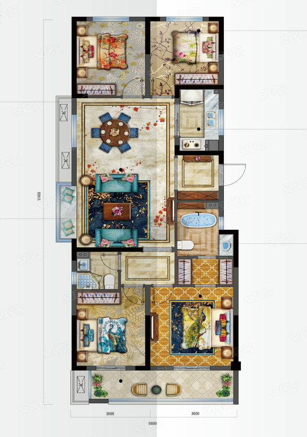 新鸿·国悦府D户型-4室2厅户型图