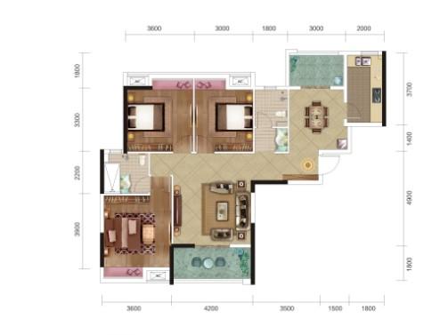 民富新天地3期B2户型-3室2厅户型图