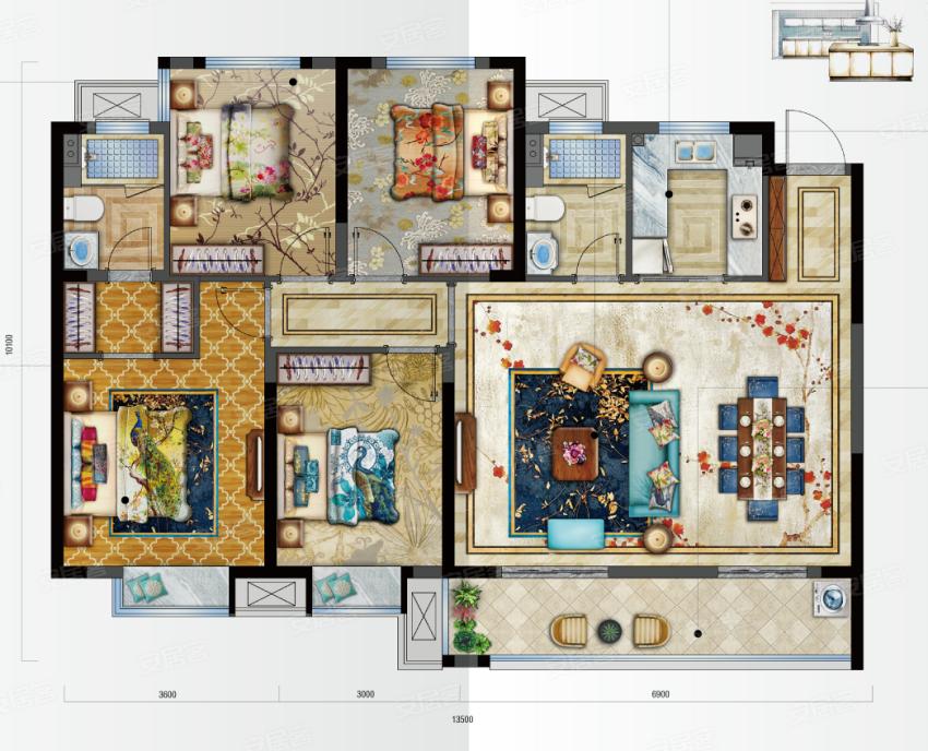 新鸿·国悦府C户型-4室2厅户型图