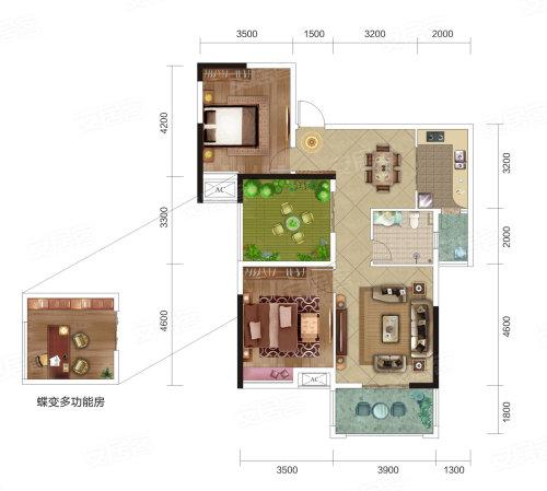 民富新天地3期B4户型-2室2厅户型图