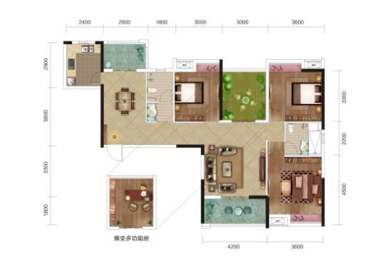 民富新天地3期B1户型-3室2厅户型图