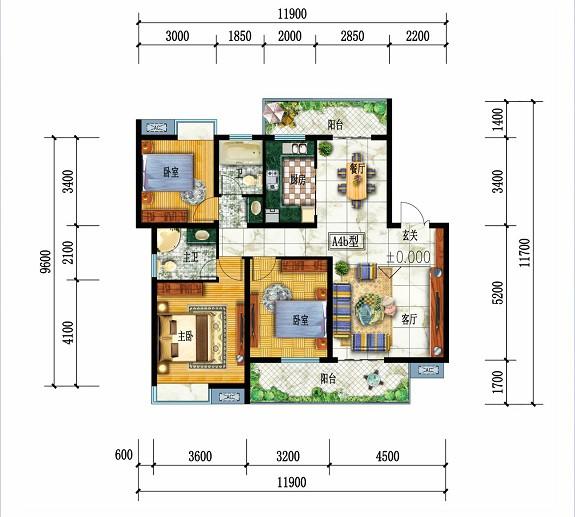 都市华府A4b户型-3室2厅户型图