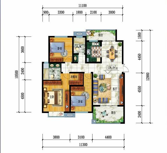 都市华府H户型-3室2厅户型图