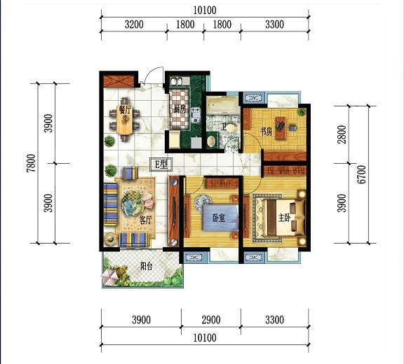 都市华府E户型-3室2厅户型图