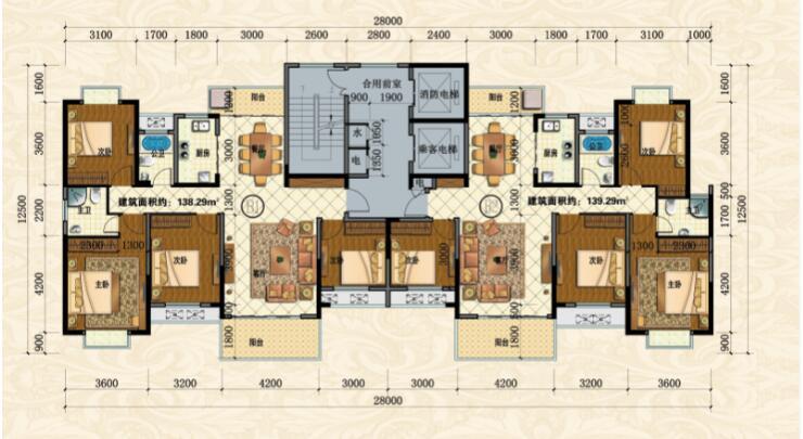 紫金城公园小区B户型-4室2厅户型图