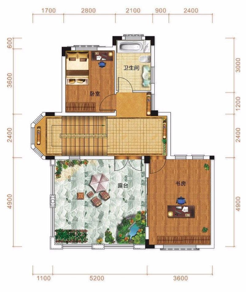 御江南国际生活区C1户型-5室2厅户型图