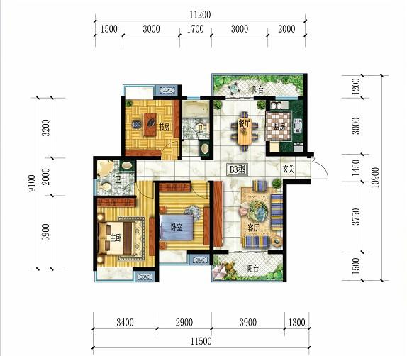 都市华府B3户型-3室2厅户型图