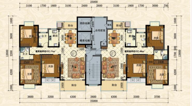 紫金城公园小区A1-3室2厅户型图
