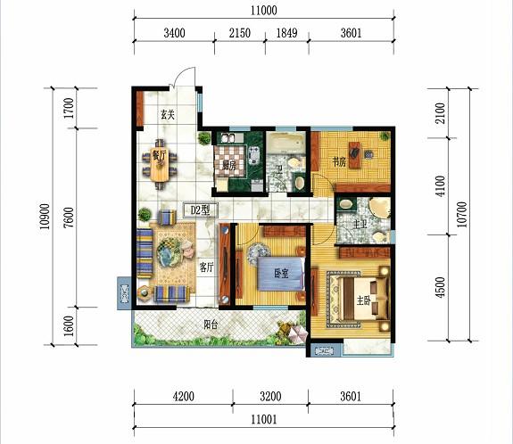 都市华府D2户型-3室2厅户型图