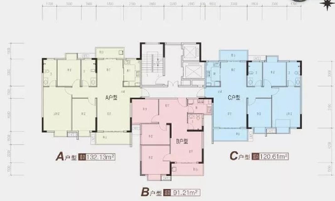龙津星城2期21#楼二单元标准层平面图-2室2厅户型图