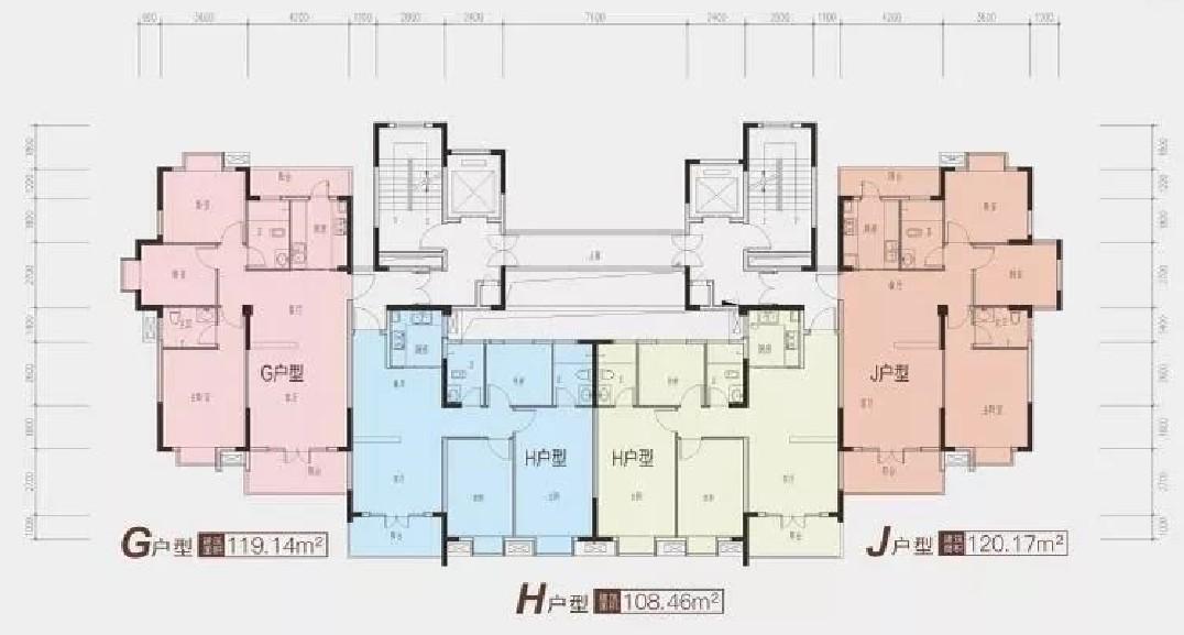 龙津星城2期23#楼二单元标准层平面图-2室2厅户型图