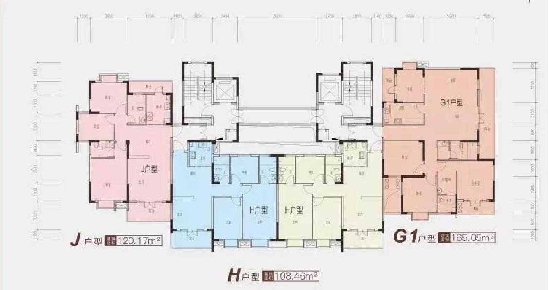龙津星城2期23#楼一单元标准层平面图-2室2厅户型图