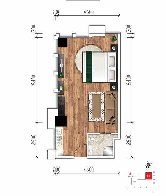 东景国际东景国际公寓户型-1室1厅户型图
