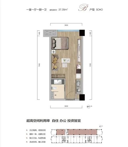 长江广场悦公馆长江广场悦公馆-1室1厅户型图